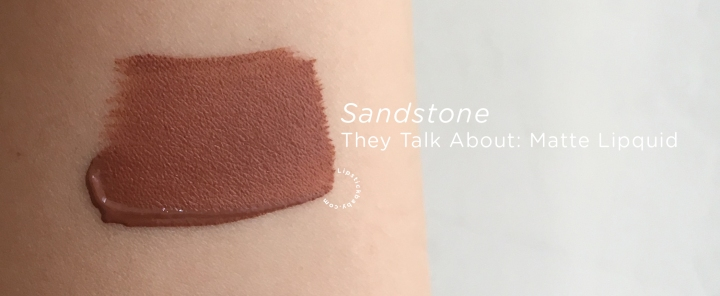 Sandstone They Talk About liquid lipstick swatch
