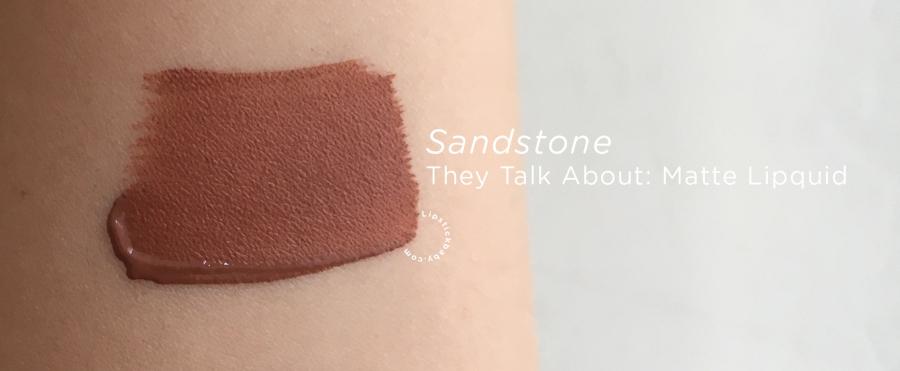 Sandstone They Talk About liquid lipstick swatch