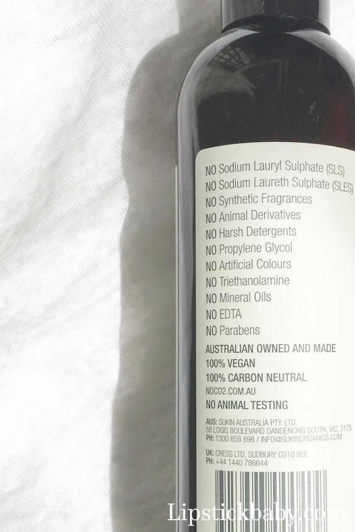 Sukin Purifying shampoo ingredients 1